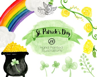 St. Patricks Day Clipart - Watercolor Clipart - Invitation Clipart - Rainbow Clipart- Lucky Charm Clipart - Irish Clipart - Pot Of Gold