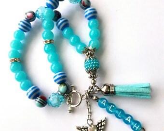 Tasbih 33 Blue Handmade Crystal Tasbeeh Bracelet, Muslim Prayer Beads, Masnaha, Muslim Gifts, Islamic Gifts, Eid Gifts Tasbih Favors Hijab