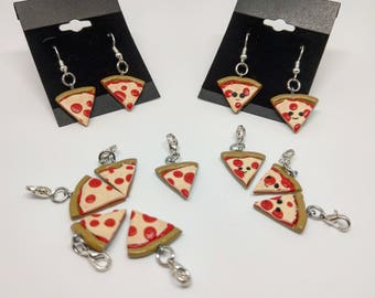 Polymer Clay pizza earrings and charms handmade