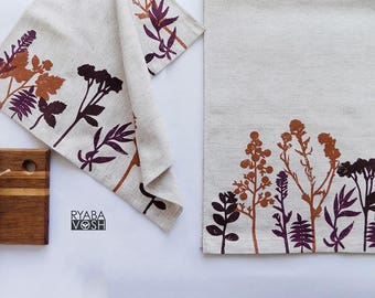 Ready to shipHand printed plant patterned kitchen towels home textiles kitchen textiles towel a set of textiles for the kitchen nature
