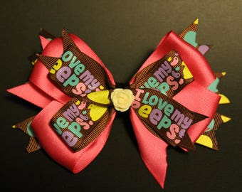 "Easter ""I love my peeps"" Hair Bow"
