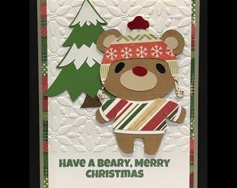Hipster Bear Beary Merry Christmas