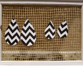 Vegan Leather Earrings:Black and White Chevron