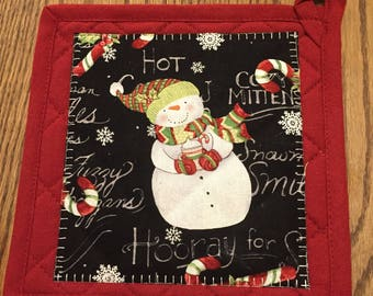 Appliqued Snowman Pot Holder