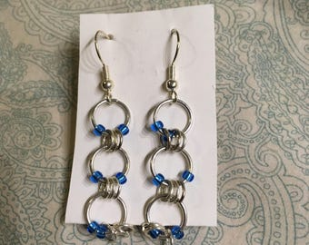 Silver and Light Blue Earrings