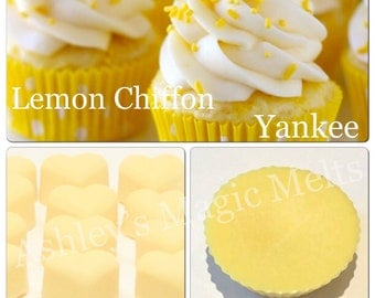 3 lemon chiffon yankee candle soy wax melts, strong wax melts, designer melts, perfume dupe melts, cheap wax melts, scented melt tart gifts