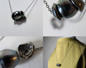Tahitian Black Pearl Double Cupped Pendant