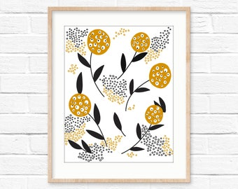 Yellow flowers wall art
