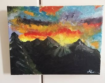 Mountain Sunset, handmade, acrylic color, canvas, picture, creativity, gift idea, house in mountain, decoration, wall