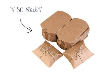 Available immediately-50 small gift boxes made of Kraft paper | Gift boxes with ribbon for Christmas