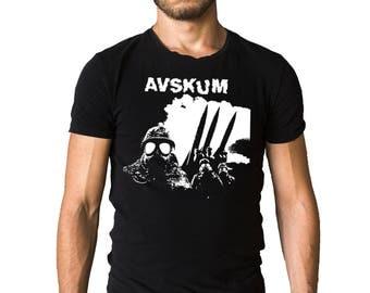 Avskum A Hail To Anti Cimex 2005 Album Cover Inspired Gas Mask Black T-Shirt