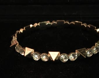 Gold plated rhinestone bangle