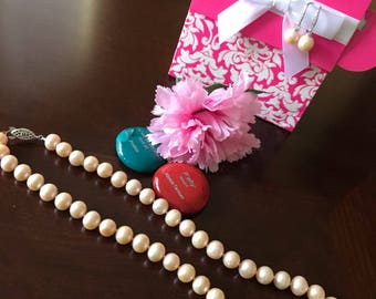 Freshwater Peach Pearl Necklace and Earring set