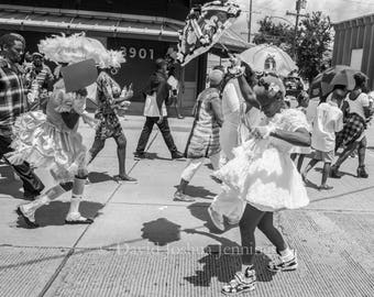 Baby Dolls on Tchoupitoulas - New Orleans 2016 - Jazz Funeral - Fine Art Photograph - Street Photography - Black and White - Fine Art Print