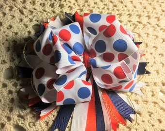 "Boutique Bow, Girls Hair Bows, Big Bow, Stacked Boutique, Fancy hairbow, 4th of July,  Red, White, Blue, Girl Hair bow, Large Bow, 7"" Bow"
