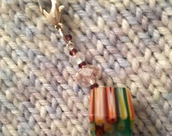 Knitting Crochet Progress Keeper Unique Luxury Single Glass Murano Style Beaded Stitch Marker