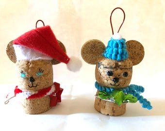 Pair of Christmas Mouse Ornaments