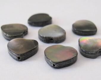 6 PCS - 12 mm Heart Shape Shell Beads, Natural Shell Beads, Center Drilled Heart Shape Shell Beads, Genuine Natural Shell Beads (HRTS-051)
