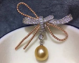 Beautiful Butterfly Bow Brooch With High Quality Natural Sea Pearl, Genuine Champagne Color Sea Pearl Brooch, Cubic Zirconia Gold Bow Brooch