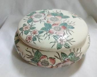 Vintage Floral trinket dish with lid