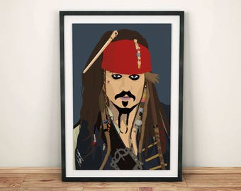Jack Sparrow / Johnny Depp / Pirates of the Caribbean • A3 Print • Wall Art Home Decor Poster Illustration