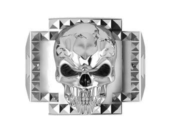 Studded Sterling Silver Skull Ring