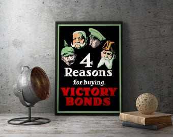 "WW1 Propaganda Poster ""4 Reasons For Buying Victory Bonds"" - First World War American anti German against enemies enemy, wwi militaria art"