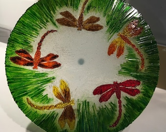 Decorative Dragonfly Glass Plate