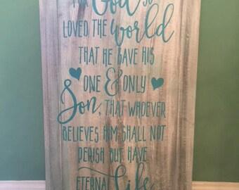 John 3:16 wood sign