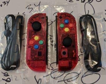 New Nintendo Switch Custom Joycons Clear Watermelon Red Joy Con Controllers