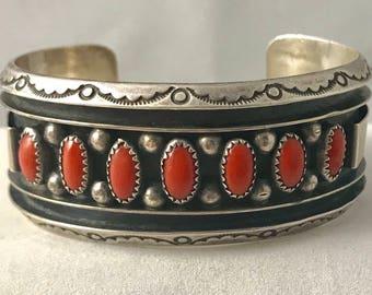 Sterling Silver Red Coral Navajo Jackie Singer Cuff Bracelet