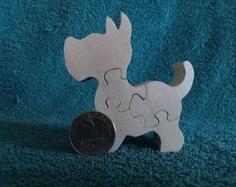 Wooden Mini Dog Scottie Puzzle