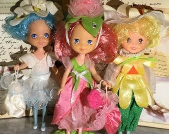 Vintage Rose Petal Place Doll lot Rose Petal, Lily Fair, Sunny Sunflower