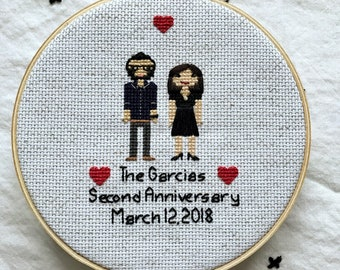 2 Figure Cross Stitch Family 2nd Anniversary Gift Modern Cross Stitch Couple Wedding Cotton Portrait Custom Pixel People Pet Dog Portrait