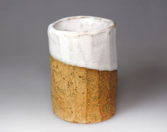 Wood-fired Earthen Teacup- creamy white glaze and warm soil's texture