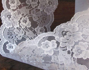 30 FT. White Fabric Lace Scalloped Edge Ribbon Romantic Gift Packaging Christmas Wholesale Ribbons Wedding Shabby Chic Country Rustic Barn
