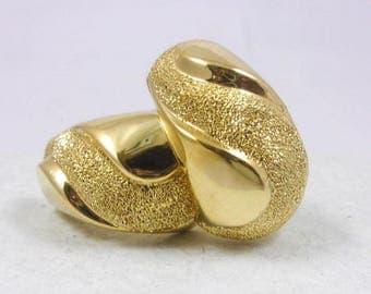 Solid 18K Yellow Gold Glitter J Hoop Studs Earrings 7.4 grams, Omega Backs
