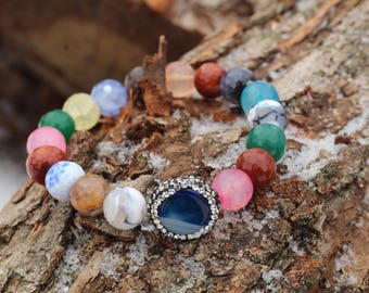 Beautiful Multi-Color Natural Agate Gemstone beaded bracelet