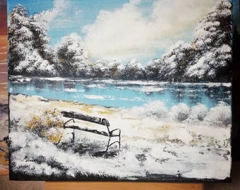 Landscape Acrylic Painting Lake Winter Park Forest Wall decor Wall art Wall hangings 40/40 cm