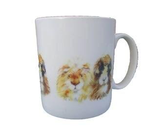 Bubble and Squeak - Ceramic Guinea Pig Mug. Handmade printed onto Durham style mug from an Original Sheila Gill Watercolour