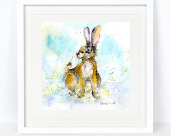 Little Bunny - Rabbit, Bunny Print. Printed from an Original Sheila Gill Watercolour. Fine Art, Giclee Print, Hand Painted, Home Decor