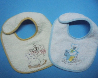 embroidered bibs super absorbent pack of 2