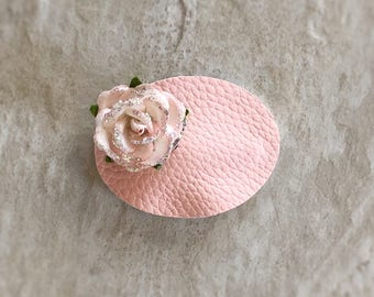 Pink Oval Floral Snap Clip - Chunky Glitter - Prima Flowers - Faux Leather - Snap Clips - 50mm Clips