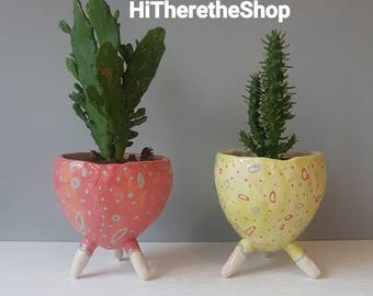 The Spotty Dotty Collection - Ceramic, succulent pot, cactus pot, plant pot, home studio pottery, home decor, legged plant pot, pinch pot.