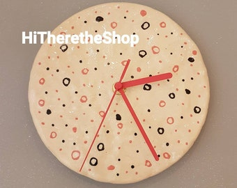 The Spotty Dotty Collection. Ceramic handmade stoneware colourful clock. Home decor, unique gift idea. Pinch item.