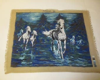 "Margot CHEVAUCHEE Wild Horses Needlepoint Petit Point - France--20"" x 25.5"" Design"