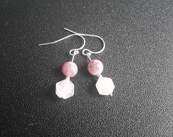 Sterling Silver Rose Quartz and Lepidolite Earrings