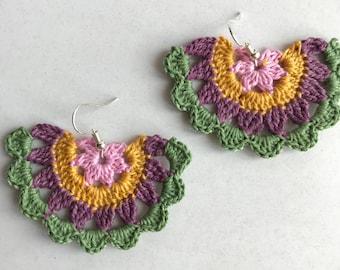 Half Mandala Crochet Earrings, Drop Earrings, Handmade Earrings, Cotton Earrings, Crochet Jewellery, Mandala Earrings
