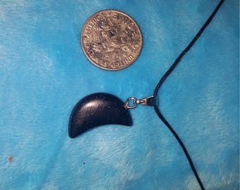 Black Goldstone Moon Charm Necklace