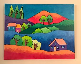 Fantasy Forest,  Original acrylic painting , House, Trees. Whimsical painting. folk art.